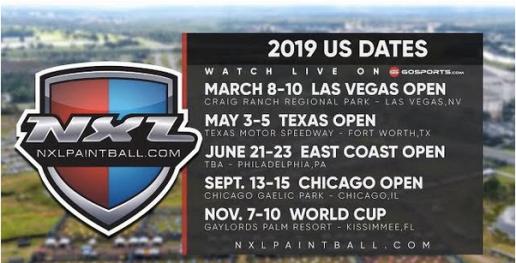 2019 NXL schedule