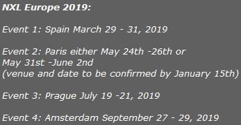 NXL Europe 2019 schedule